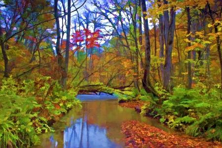Autumn Colors of Oirase River, located at Aomori Prefecture Japan  photo
