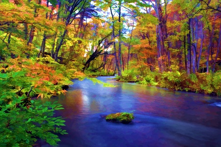 Autumn Colors of Oirase River, located at Aomori Prefecture Japan