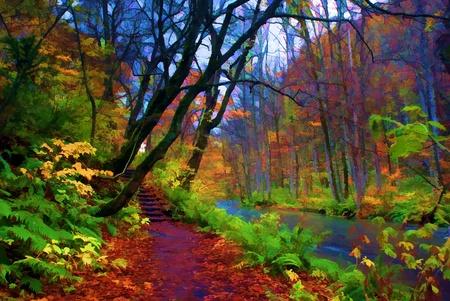 奧入瀨溪的紅葉,位於青森縣日本