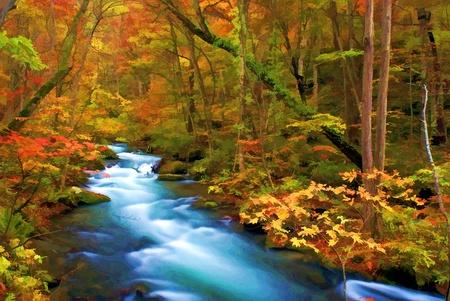 cascades: Colori d'autunno di Oirase River, situato a Aomori Prefecture Giappone