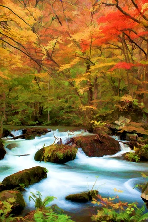 rock creek: Autumn Colors of Oirase River, located at Aomori Prefecture Japan