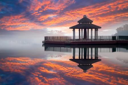 Sunrise of sun moon lake, Taiwan