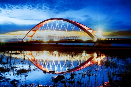 Color Red Bridge Sunset, Chuk Yuen, Taoyuan County, Taiwan  photo