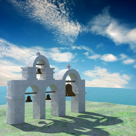 Greek Architecture with bule sky for adv or others purpose use  photo