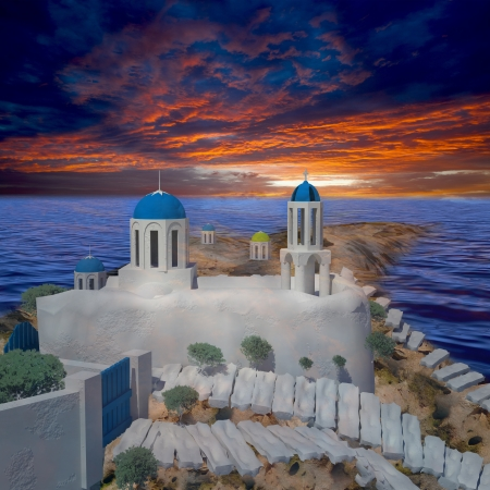Greece style building with nice sunset for adv or others