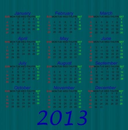 Blue style Calendar of 2013 photo