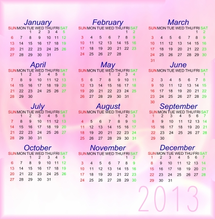 Pink style Calendar of 2013 photo