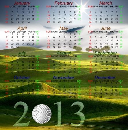 Golf Calendar of 2013 Stock Photo - 14377151