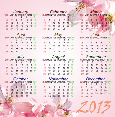 Pink style Calendar of 2013 Stock Photo - 14377034