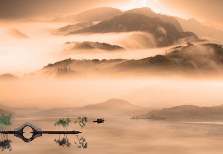 Chinese landscape painting - Sunset of Fisherman