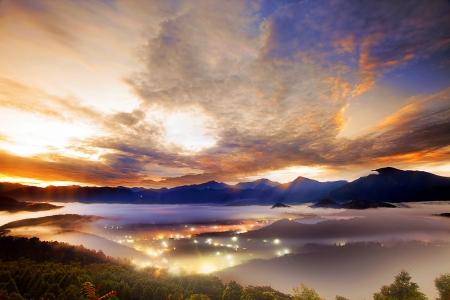 Jinlong mounain sunrise, Taiwan for adv or others purpose use