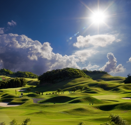 Golf place with wonderful green for adv or others purpose use Stock Photo