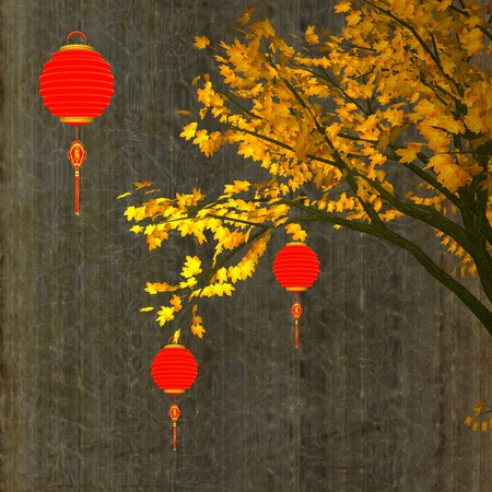 flores chinas: linternas chinas para el fondo Foto de archivo