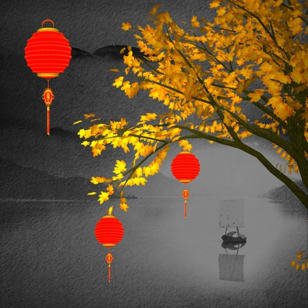chinese lanterns for background photo