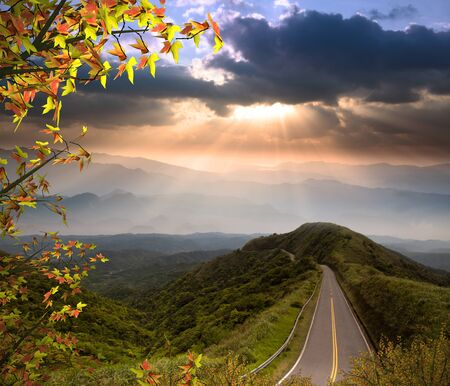 Road to a nice place with colorful maple Stock Photo - 16347573
