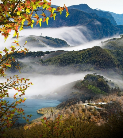 Beautiful mountain with nice maple and cloud background Stock Photo