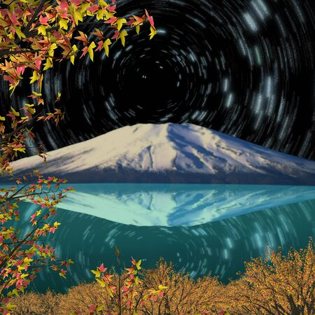 Night view of Mount Fuji in Fall photo