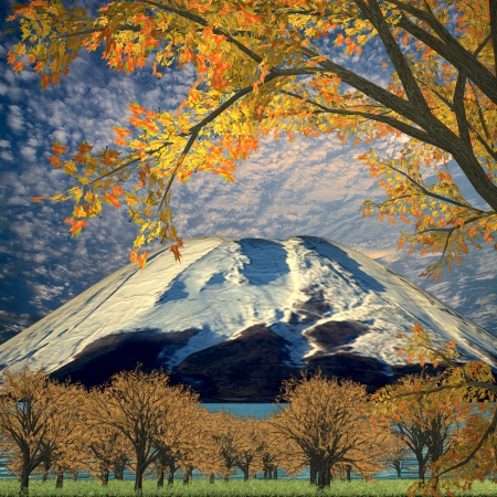 others: Amazing mountain with red leaf for adv or others purpose use Stock Photo