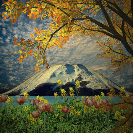 colour images: Amazing mountain with red leaf for adv or others purpose use Stock Photo