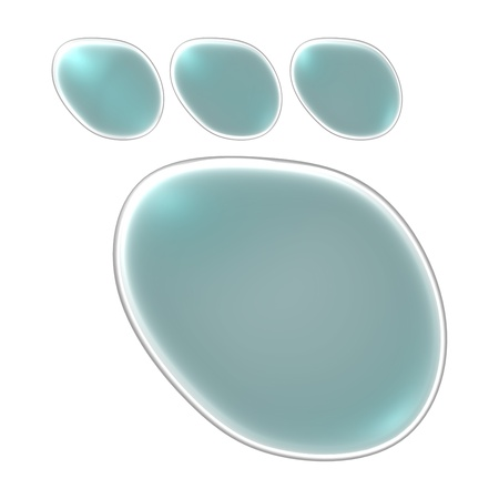 3d blue animal paw for adv or others purpose use photo
