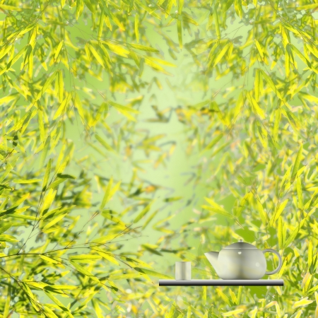 Cup of tea with bamboo background for adv or others purpose use photo