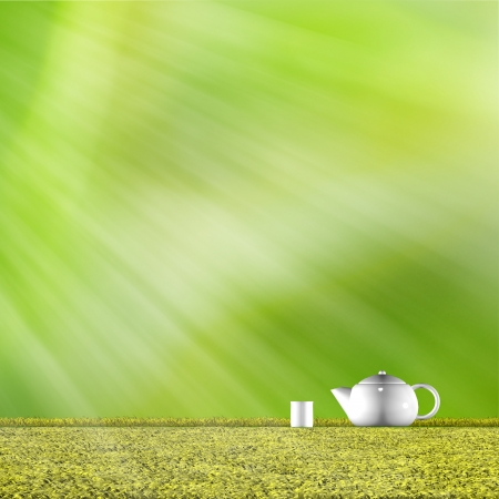 Teapot with nice green background for adv or others purpose use photo