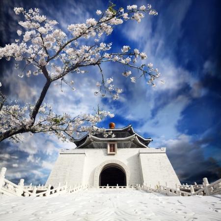 Chiang Kai Shek Memorial Hall in Taiwan met mooi sakura bloem Stockfoto