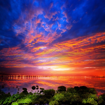 bright sunrise on a river for adv or others purpose use Stock Photo - 17592238