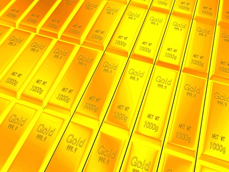 Macro view of rows of gold bars for adv or others purpose use Stock Photo