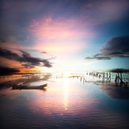 beautiful sunset and cloud reflection on the sea and lake