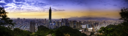 Full view sunset of Taipei city for adv or others purpose use photo
