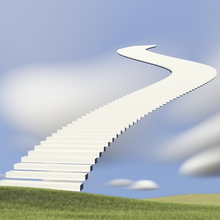 ascend: Ladder reaching into a blue sky and clouds for adv or others purpose use