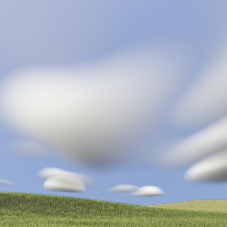 Group clouds on blue sky and green meadow for adv or others purpose use photo