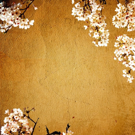 spring blossom cherry tree and pink flowers on brown old paper grunge background photo