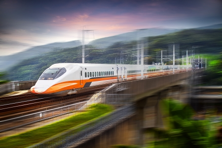 fast train: modern train speeding with motion blur for adv or others purpose use