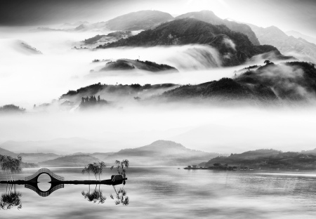 chinese style: Ink and wash landscape painting for adv or others purpose use Stock Photo