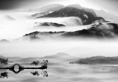 paesaggio: Stile di pittura di paesaggio cinese per adv o altri usano scopo