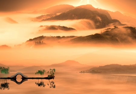 Painting style of chinese landscape for adv or others purpose use photo