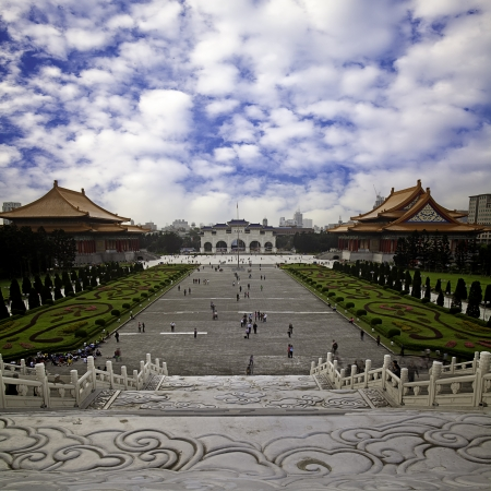 funny view of chiang kai shek memorial hall with blue sky