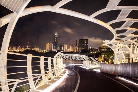 Beautiful night view of Kaohsiung bike lanes, Taiwan photo
