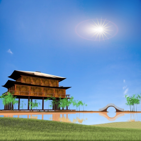 Painting style of china landscape for adv or others purpose use photo