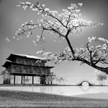 Adv のための中国の風景の絵のスタイルまたは他の目的の使用 写真素材
