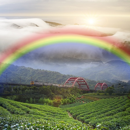 Beautiful place with nice rainbow photo