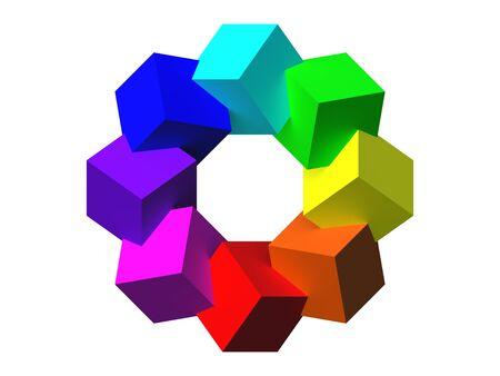Colored cubes 3D  photo