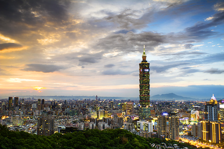 Taipei, Taiwan evening skyline Editorial