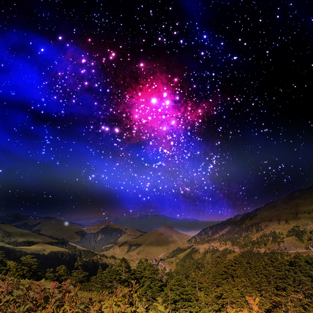 natural phenomena: Beautiful mountain and galaxy for adv or others purpose use