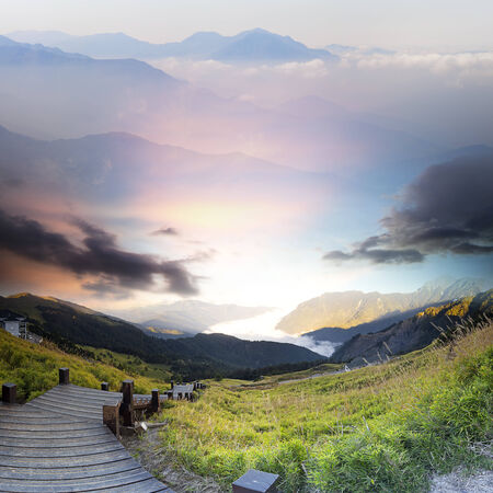 Beautiful mountain view with sunrise for adv or others purpose use photo