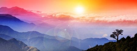 Beautiful mountain view with sunrise for adv or others purpose use Stock Photo