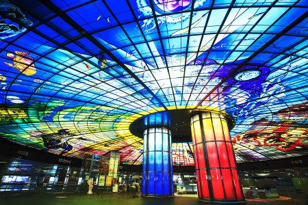 KAOHSIUNG CITY, TAIWAN - CIRCA APRIL 2013  The Dome of Light at Formosa Boulevard Station, the central station of Kaohsiung subway system in Kaohsiung City, Taiwan circa April 2013