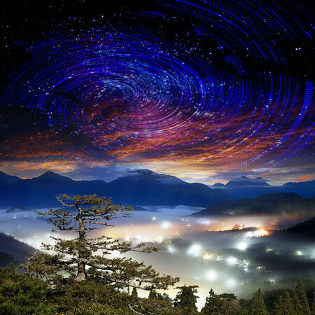 stargazing: High mountain with galaxy Stock Photo